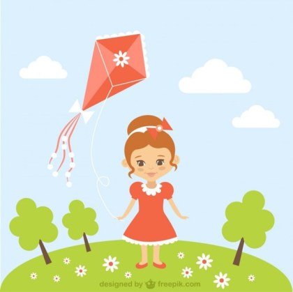 Cartoon Girl with Kite Free Vector