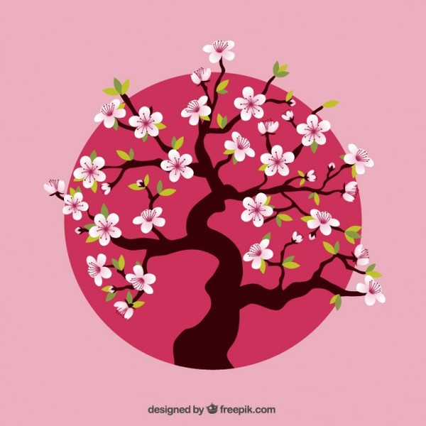 Cherry Tree Over Pink Dot Free Vector