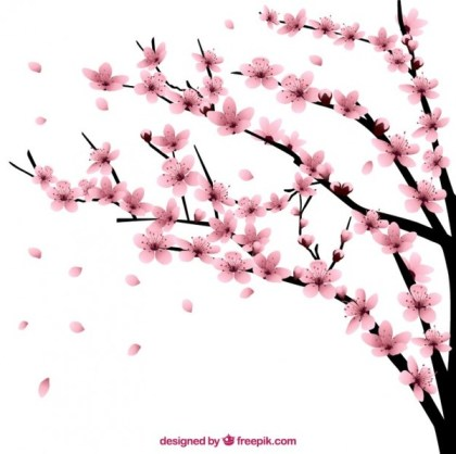 Cherry Tree with Flowers Free Vector