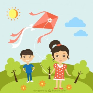 Children with Kite in Sunny Day Free Vector