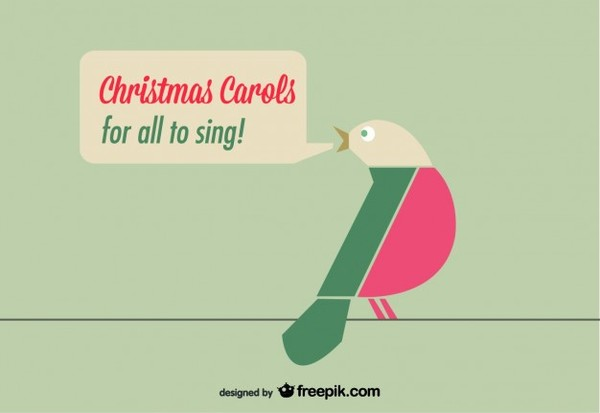Christmas Card with Birds Free Vector
