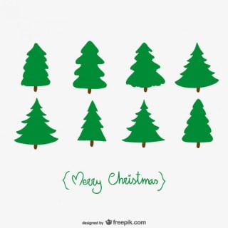 Christmas Card with Trees Free Vector