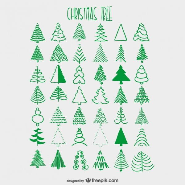 Christmas Trees Sketches Collection Free Vector