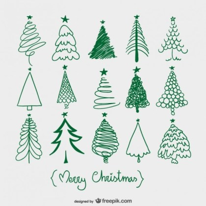 Christmas Trees Sketches Free Vector