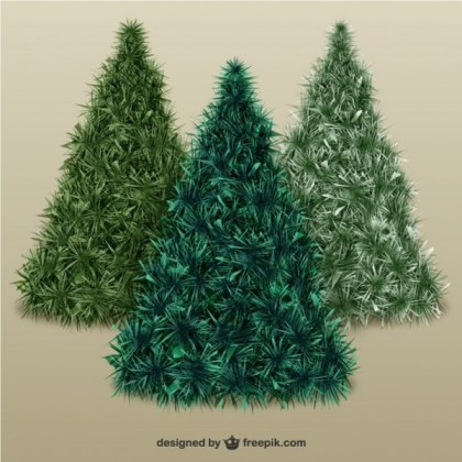 Christmas Trees with Texture Free Vector