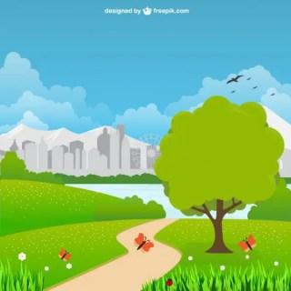 City Park Landscape Free Vector