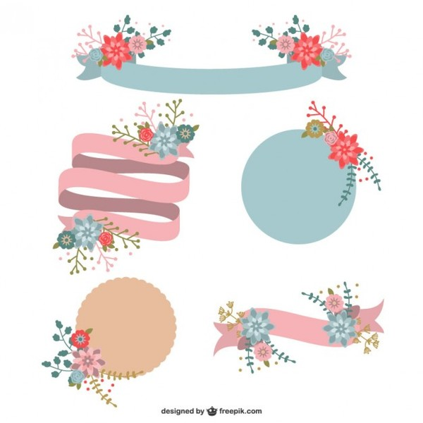 Classic Ribbons and Labels with Flowers Free Vector