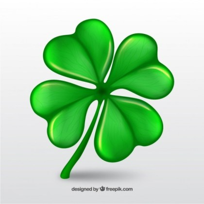 Clover with Four Leaf Free Vector