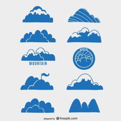 Collection of Mountains Labels Free Vector