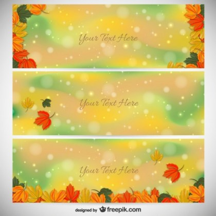 Colorful Autumn Banner Templates Free Vector