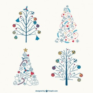 Colorful Christmas Trees Drawings Free Vector