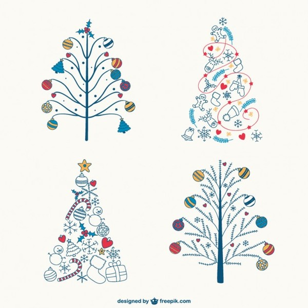 Colorful Christmas Ornaments Drawings.Colorful Christmas Trees Drawings Free Vector