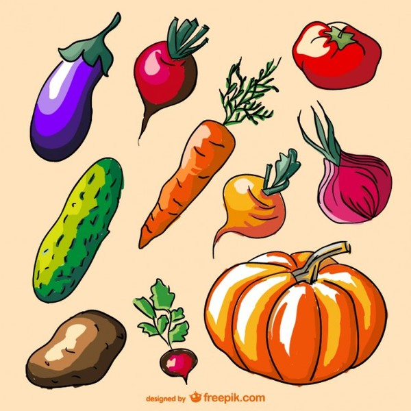 Colorful Doodle Vegetables Set Free Vector