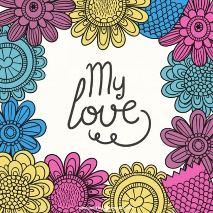 Colorful Floral Valentine Card Free Vector