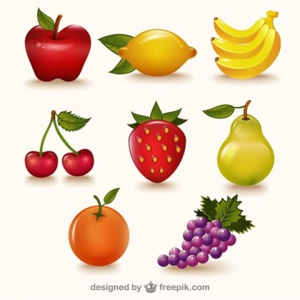 Colorful Fruits Pack Free Vector
