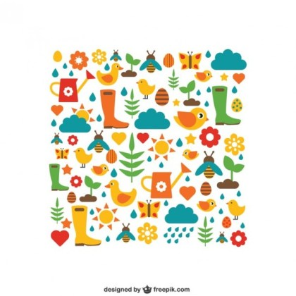 Colorful Gardening Elements Free Vector