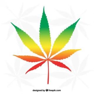 Colorful Marijuana Leaf Free Vector