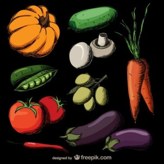 Colorful Realistic Hand Drawn Vegetables Free Vector