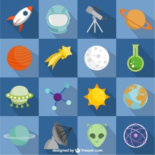 Colorful Space and Astronauts Flat Icons Free Vector