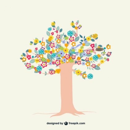 Colorful Tree with Flowers Free Vector
