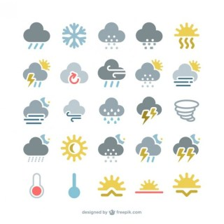 Colorful Weather Icons Pack Free Vector