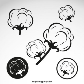 Cotton Flowers Outline Free Vector