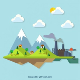 Countryside Colourful Landscape Illustration Free Vector