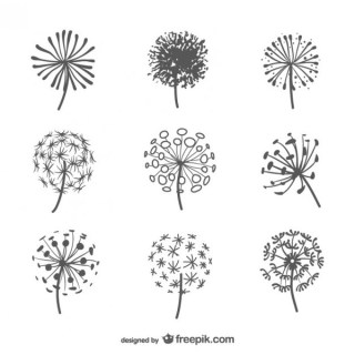 Dandelion Silhouettes Pack Free Vector
