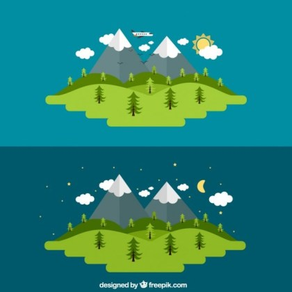 Day and Night of A Rural Landscape Free Vector