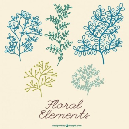 Decorative Plant Elements Free Vector