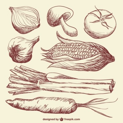 Doodle Vegetables Art Free Vector