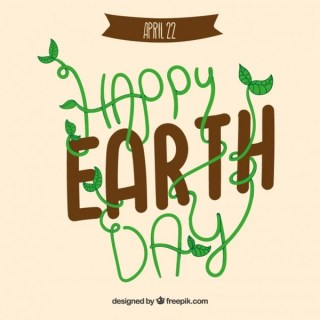 Earth Day Card with Funny Lettering Free Vector