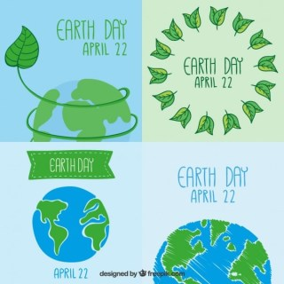 Earth Day Cards Collection Free Vector