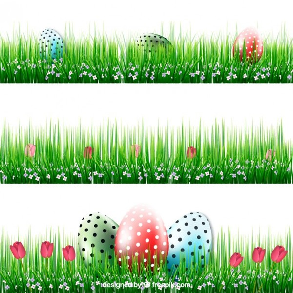 Easter Banners with Eggs in Grass Free Vector