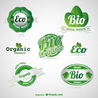 Eco Green Food Labels Set Free Vector