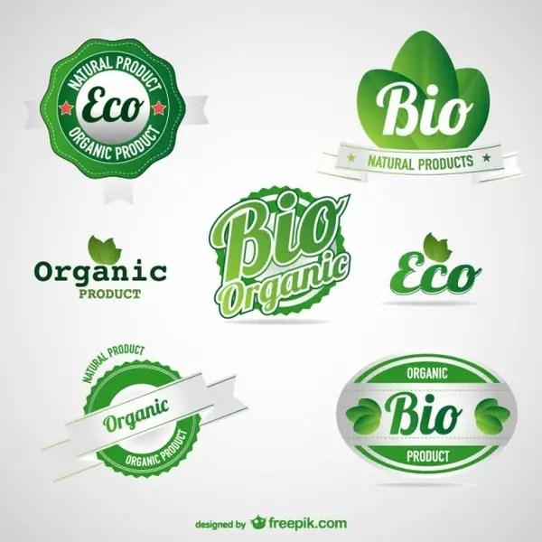 Eco Green Food Labels Set Free Vector