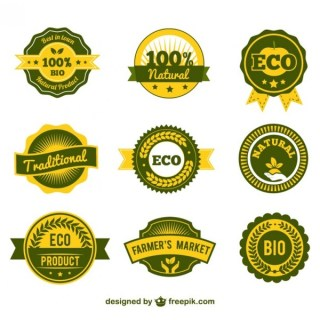 Eco Products Labels Free Vector