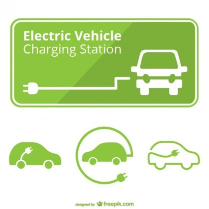 Electric Car Charging Station Free Vector