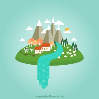 Farmhouse in the Clouds Free Vector