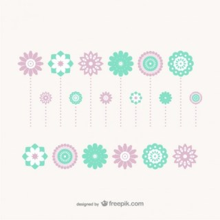 Flat Decoration Flowers Free Vector