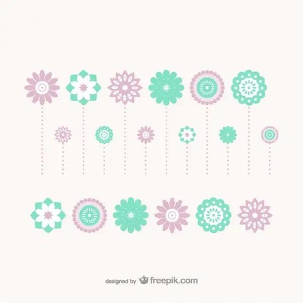 Flat Decoration Flowers Free Vector