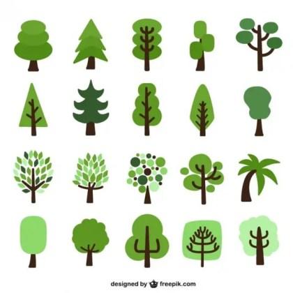 Flat Trees Cartoons Pack Free Vector