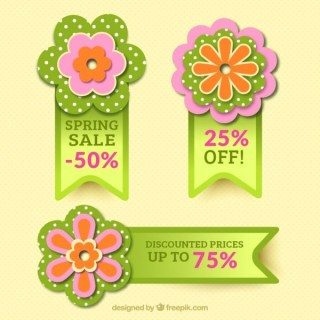 Floral Badges for Spring Sales Free Vector
