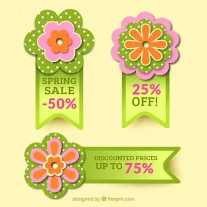 Floral Badges for Spring Sales Free Vector