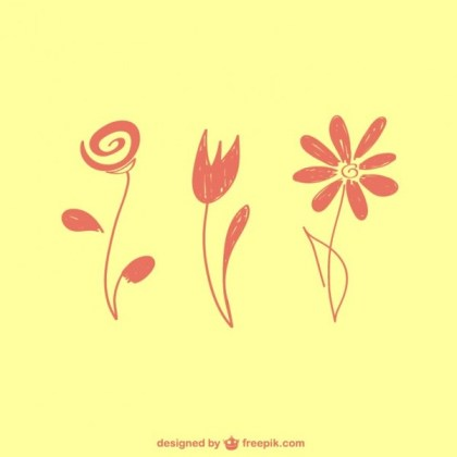 Floral Graphic Elements Free Vector