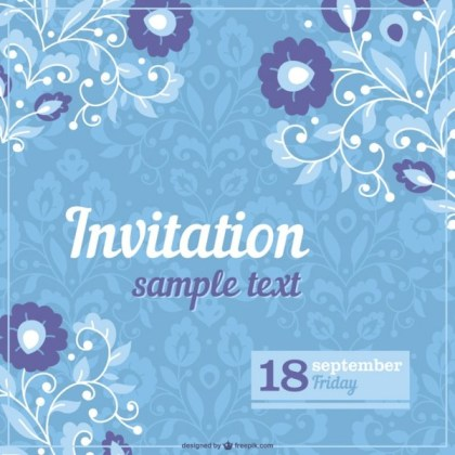 Floral Invitation Template Free Vector