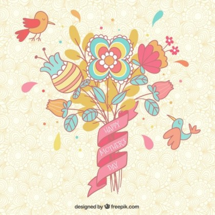 Floral Mother's Day Card Free Vector