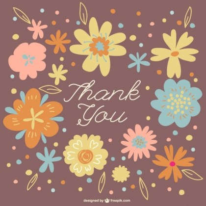 Floral Wreath Thank You Card Free Vector