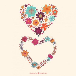 Flower Hearts Design Free Vector
