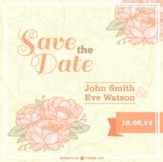 Flowered Vintage Wedding Card Free Vector